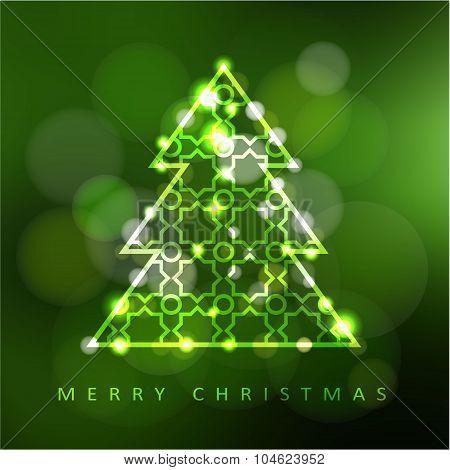 Modern Christmas Greeting Card, Invitation With Illuminated Ornamental Christmas Tree, Vector