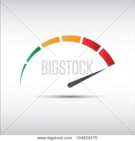 Color vector tachometer speedometer icon