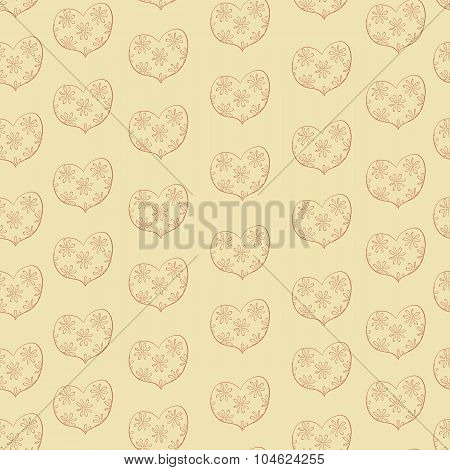seamless pattern of hearts in a floret