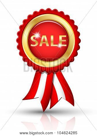 Golden Sale Tag With Ribbons