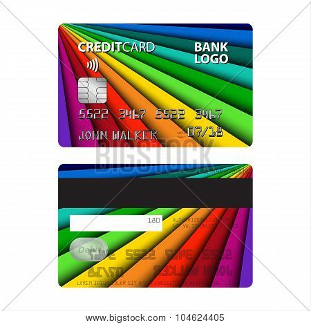 Vector illustration of colored credit card
