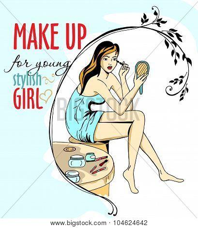 Young Girl Makes Make-up