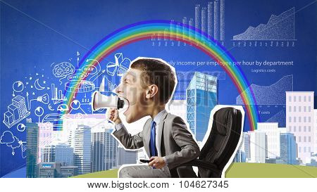 Funny businessman sitting in chair and screaming in megaphone