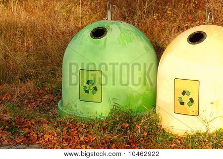 Two Colorful Recycling Bins