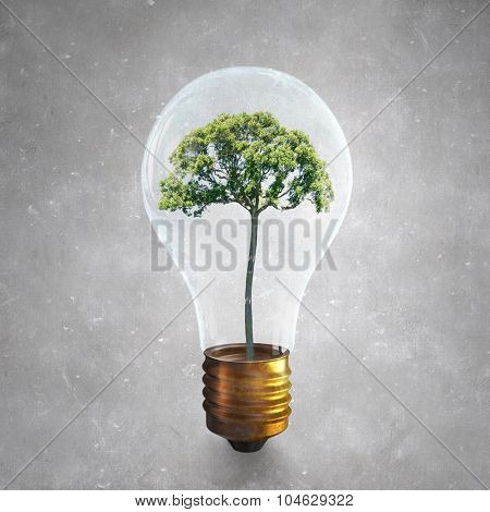 Glass light bulb with green tree inside