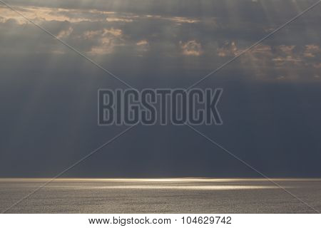 Rays Of Sunlight In Etretat, Cote D'albatre, Pays De Caux, Seine-maritime Department, Upper Normandy