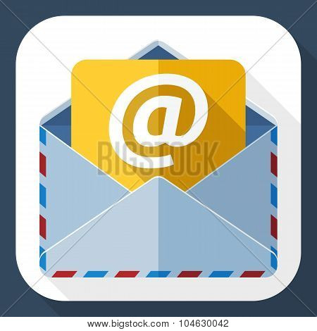 E-mail Icon With Long Shadow