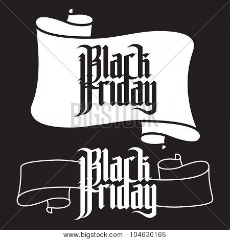 Black Friday. Modern Gothic Style Font. Gothic letters with decoration elements