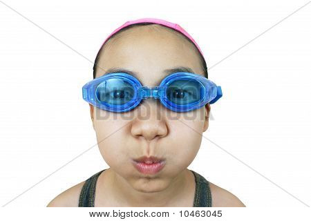 Girl getting ready for a swim
