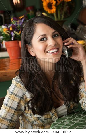 Beautiful Latina Woman On Phone
