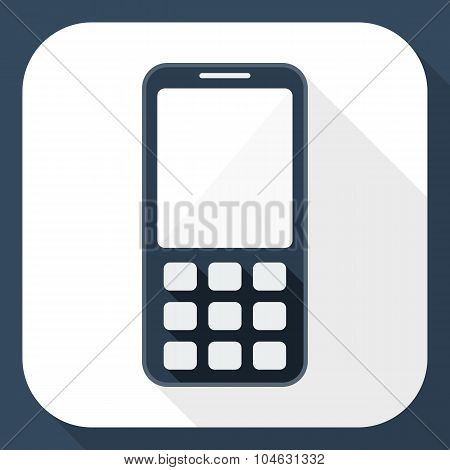 Mobile Phone Flat Icon With Long Shadow, Vector