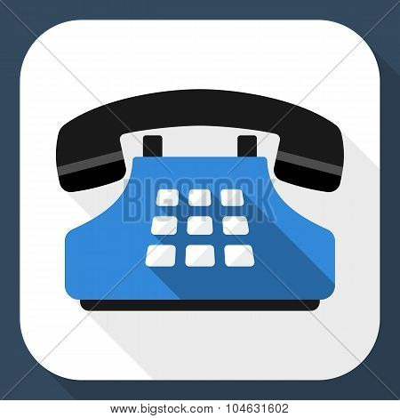 Push-button Telephone Flat Icon With Long Shadow