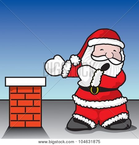 Santa Claustrophobia - Santa Claus terrified on getting into fireplace - A vector illustration