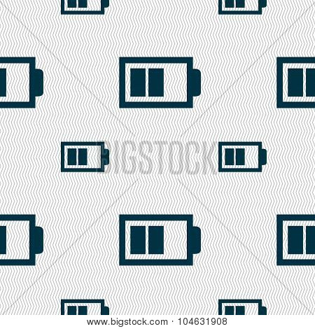 Battery Half Level Sign Icon. Low Electricity Symbol. Seamless Pattern With Geometric Texture. Vecto
