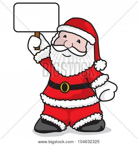 Santa claus holding a message - A vector illustration on white background