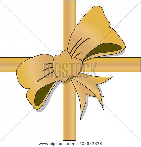 Golden bow for wrapping gifst - A vector illustration