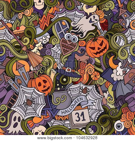 Cartoon vector hand-drawn Doodles on the subject of Halloween
