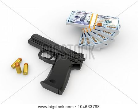 3d pistol bullets and money stack