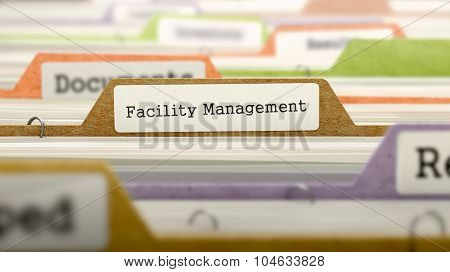 Facility Management Concept. Folders in Catalog.