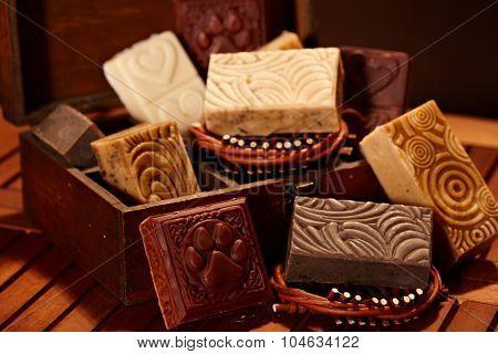 Closeup photo of aesthetic natural soap bars.