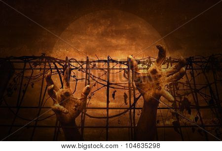 Hand Over Metal Fence With Dry Leaves Over Dark Sky, Halloween Concept