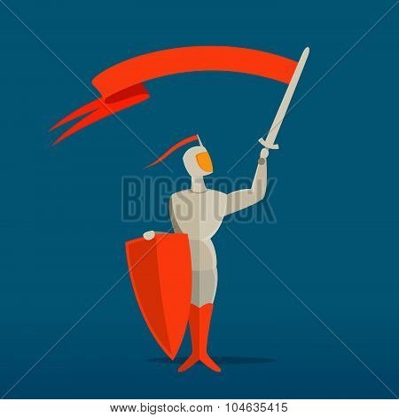Medieval Knight With Sword, Shield And Flag, Banner.
