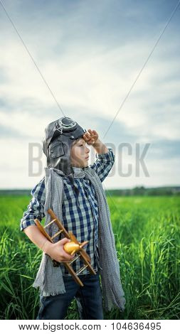 Little boy with airplane in the field