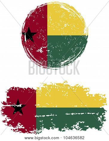 Guinea-Bissau round and square grunge flags. Vector illustration.