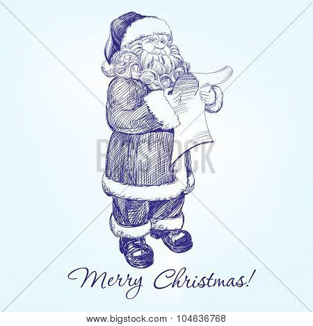 Santa Claus reading a letter hand drawn vector llustration realistic sketch