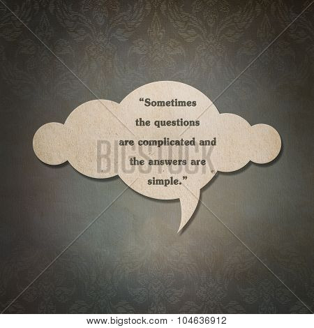 Meaningful Quote On Paper Cloud With Thai Style Pattern Background