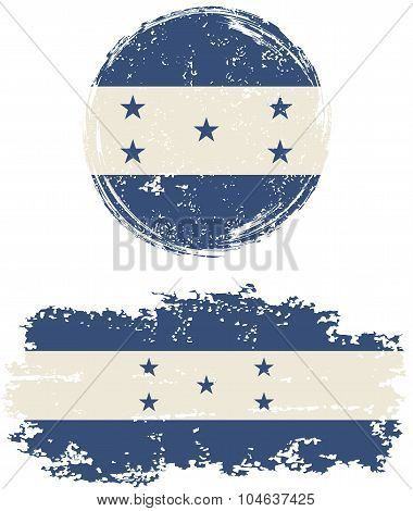Honduras round and square grunge flags. Vector illustration.
