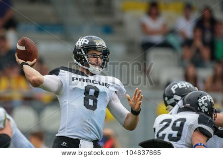VIENNA, AUSTRIA - JULY 13, 2014: QB Kyle Newhall (#8 Panthers) passes the ball during an Austrian football league game.