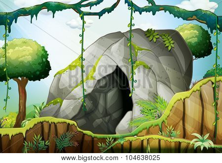 Cave in the deep forest illustration