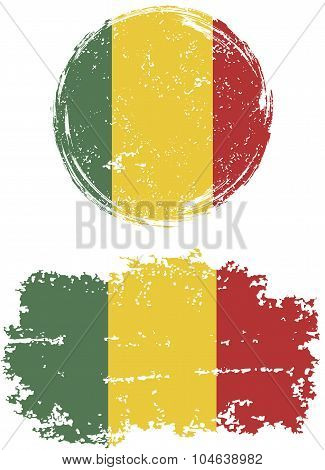Malian round and square grunge flags. Vector illustration.