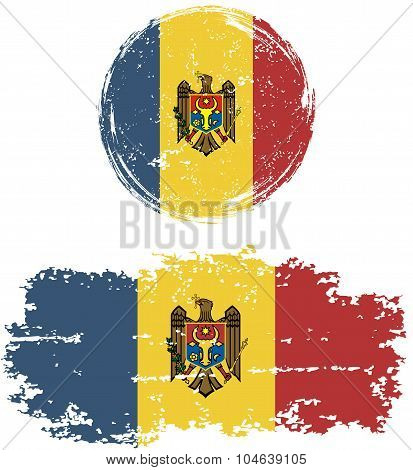 Moldovan round and square grunge flags. Vector illustration.