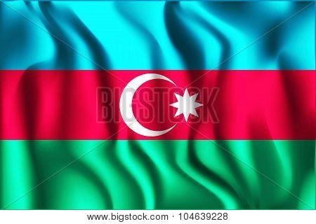 Flag Of Azerbaijan. Rectangular Shape Icon