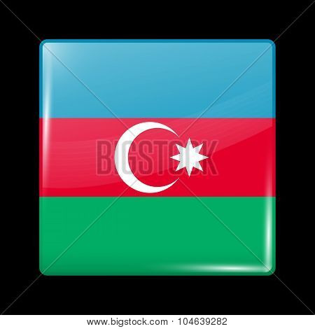Flag Of Azerbaijan. Glassy Icon Square Shape