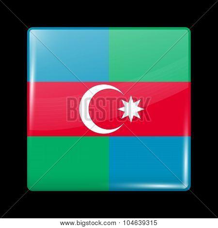 South Azerbaijan Flag. Glassy Icon Square Shape