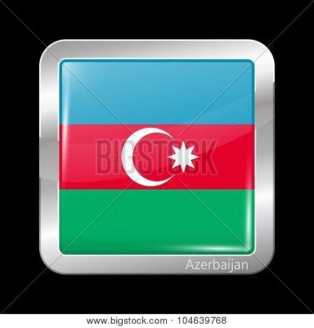 Flag Of Azerbaijan. Metalic Icon Square Shape