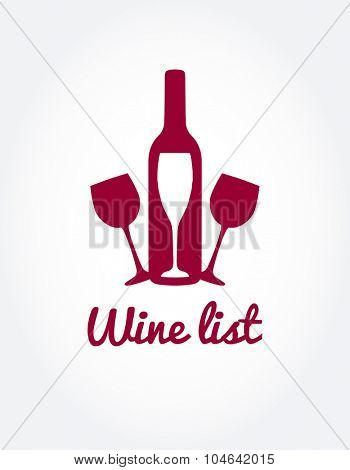 Wine list design templates with different wine bottle and glasses. Bright colors wine concept for web, poster, print logo, and other design