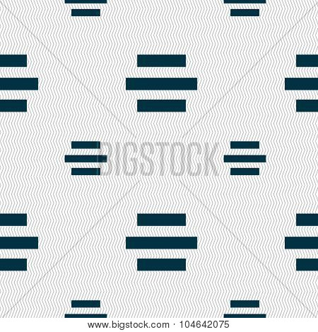 Center Alignment Icon Sign. Seamless Pattern With Geometric Texture. Vector
