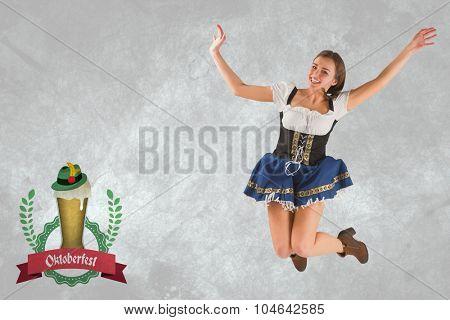 Pretty oktoberfest girl smiling and jumping against oktoberfest graphics