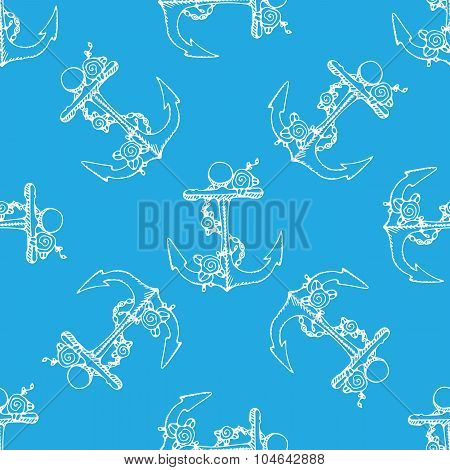 Anchor With Flowers Seamless Pattern