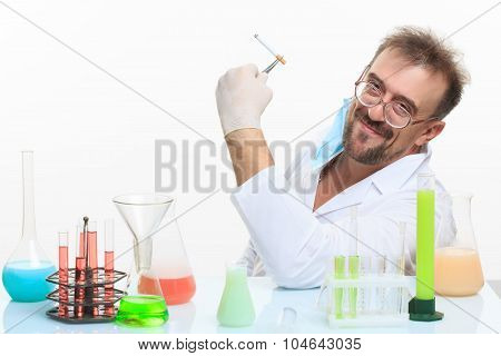 Crazy chemist smokes a cigarette