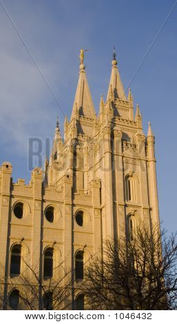 Salt Lake Temple East Spires From South At Dusk