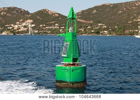 Green Buoy With Solar Battery, Canal Border Mark