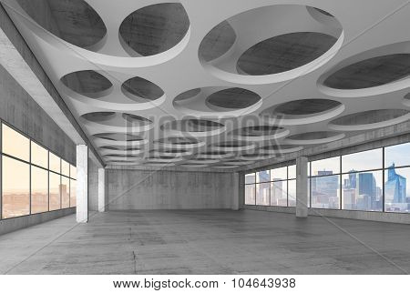 3D Interior With Round Holes Pattern In Ceiling