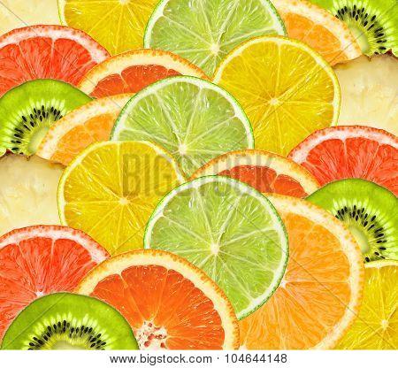 Beautiful Citrus Fruits Of Lemon, Orange, Grapefruit, Lime Such As Fruit Background