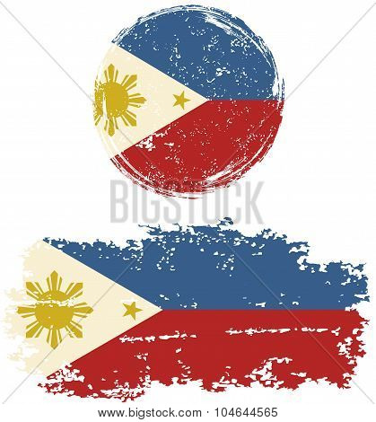 Philippines round and square grunge flags. Vector illustration.