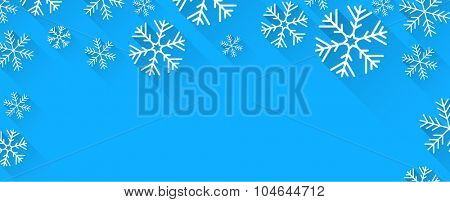 Winter abstract banner with flat paper snowflakes and place for text. Vector illustration.